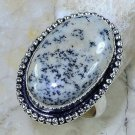 Natural merlinite dendritic opal silver ring size 8 1/4 ! Gift Jewelry & Love