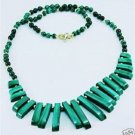 Genuine malachite stone beaded necklace 14k gold clasp ! Gift Jewelry & Love