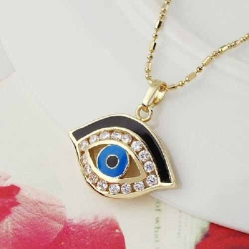 14k gold plated blue eye zircons Pendant and necklace ! Gift Jewelry & Love