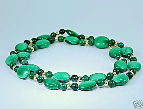 Genuine malachite stone beaded necklace 14k gold clasp