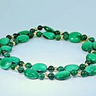 Genuine malachite stone beaded necklace 14k gold clasp