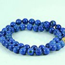 Genuine Lapis lazuli beaded necklace 14k gold clasp .