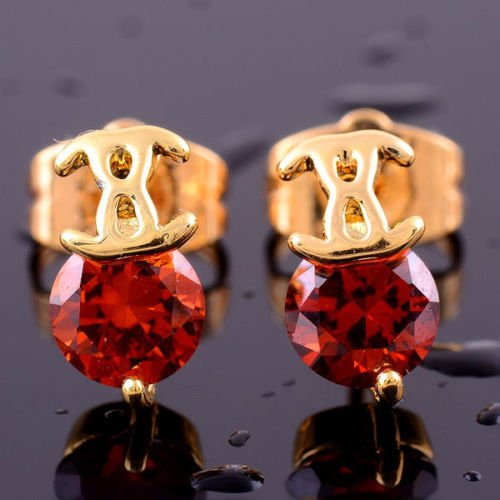 Fashion 14K gold filled round garnet gemstone stud earring ! Gift Jewelry & Love