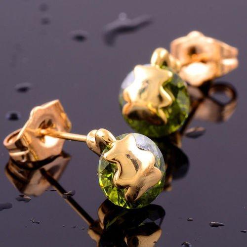Fashion 14K goldfield round peridot gemstone stud earring ! Gift Jewelry & Love