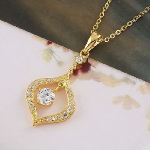 14k gold plated , zircons brilliant cut pendant & chain ! Gift Jewelry & Love
