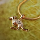 18K Gold Plated kangaroo & Zircons Pendant & Necklace ! Gift Jewelry and Love