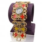 Fashion Crystal 18K Gold Plated Watch Bangle Bracelet ! Jewelry Gift & Love