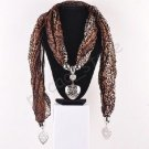Fashion Jewelry Accessory brown Scarf With Heart Pendant Necklace ! Gift & Love