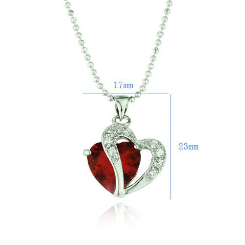 24k gold plated jewelry red crystal Heart & white zircons pendant & necklace