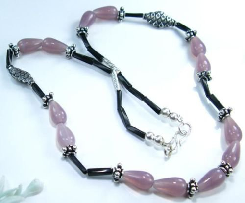 """Pretty natural chalcedony stone silver necklace 20"""" ! Gift Jewelry & Love"""