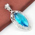 Fashion silver necklace & pendant set blue eye topaz gemstone ! Gift & Jewelry