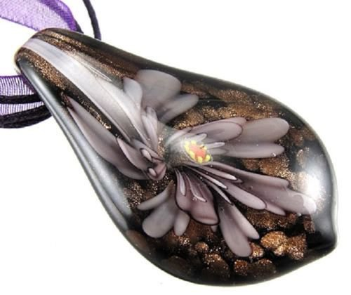 Flower On Leaf Handmade Art Glass Pendant Ribbon Necklace ! Gift & Jewelry
