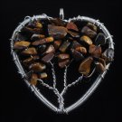 Fashion Tiger eye stone beads on tree heart pendant & necklace ! Gift & Jewelry
