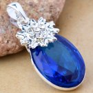 Fashion silver necklace & pendant set blue crystal gemstone ! Gift & Jewelry