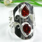 Natural fashion Garnet gemstone silver ring size 6 1/4 ! Gift Jewelry & Love