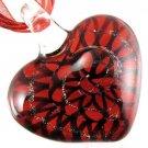 Red Heart Handmade Art Murano Glass Pendant Ribbon Necklace ! Gift & Jewelry