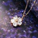 18K gold plated necklace & pendant set swarovski crystal hearts flower design