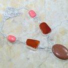 Silver necklace set Sun Sitara Carnelian Jasper beads pendant ! Gift & Jewelry