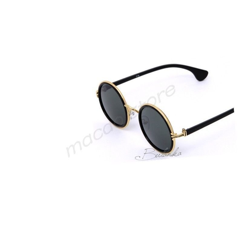 Fashion Unisex Retro Round Gold Plated Metal Frame Green Lens ! Gift & Jewelry