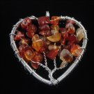 Fashion Agate gemstone beads on tree heart pendant & necklace ! Gift & Jewelry