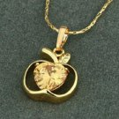 18k Gold Plated Apple Set Champagne zircon Pendant & Chain ! Gift Jewelry & Love