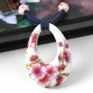 Fashion ceramic art flowers hand woven pendant & necklace ! Gift Jewelry & Love