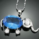 Blue Sapphire Accent elephant 18K GP Pendant & Chain ! Gift Jewelry & Love