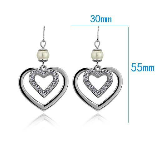 Romantic 18k White Gold Plated Heart & Pearl Earrings ! Gift Jewelry & Love