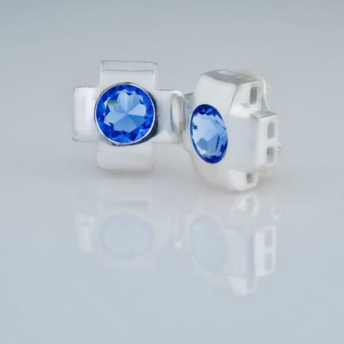 Special fashion pure silver earrings set blue zircon ! Gift Jewelry & Love