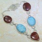 "20"" Fashion silver necklace set Howlite + Jasper beads pendant ! Gift & Jewelry"
