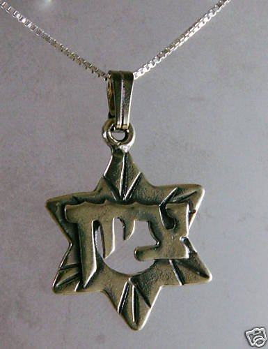 Silver pendant star of David , zaion in hebrew + necklace ! Gift Jewelry & Love