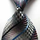 Fashion Accessory Gray Striped Silk Classic Woven Necktie - Men's Tie