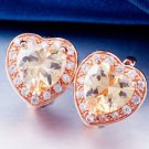 Fashion 18K Rose Gold Plated Heart Design Champagne Cubic Zircons Hoop Earrings