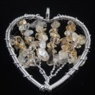 Fashion Citrine gemstone beads on heart pendant & necklace ! Gift Jewelry & Love