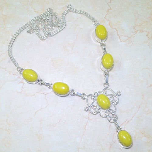 Fashion silver necklace & pendant set yellow Agate gemstone ! Gift Jewelry & Lov