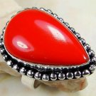 Fashion retro design silver set red coral ring size 8 ! Gift Jewelry & Love