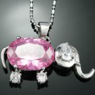Sapphire Accent elephant 18K GP Pendant & Necklace ! Gift Jewelry & Love