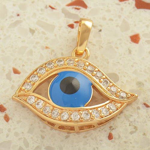 Fashion 18k gold plated blue eye set zircons pendant & necklace ! Jewelry & Gift