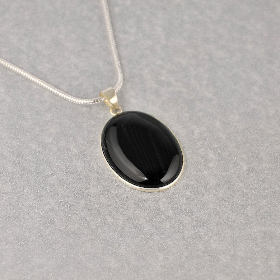 Fashion silver chain & pendant set black Onyx Agate stone ! Gift Jewelry & Love