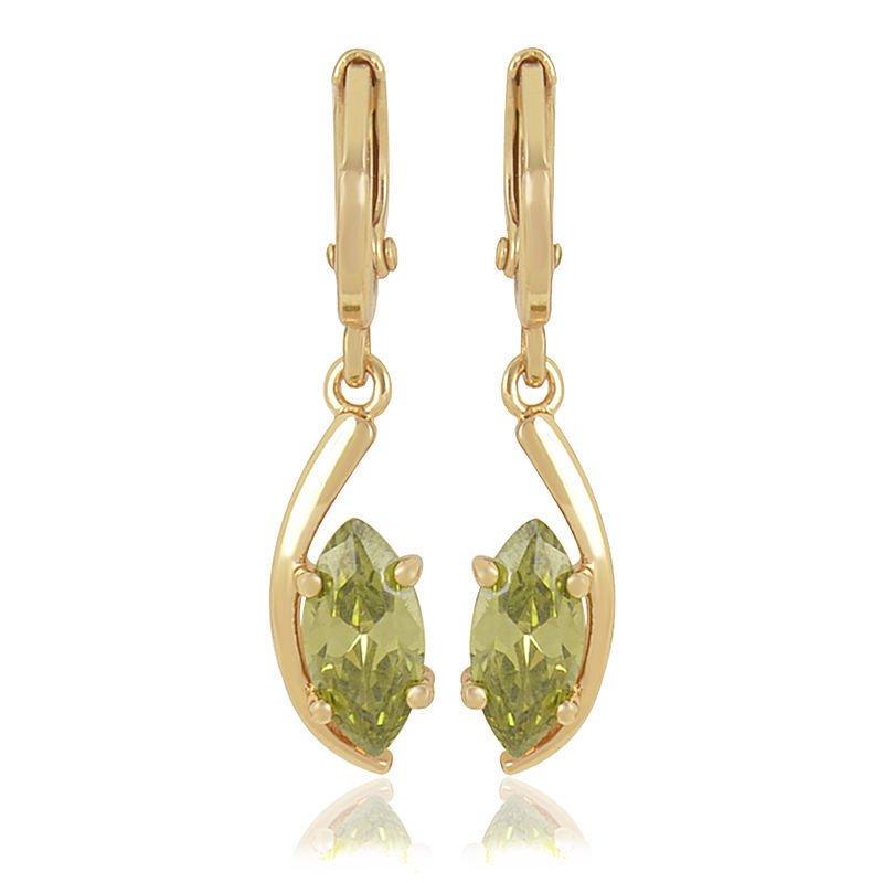Fashion 9K gold filled olives green zircon dangle earrings ! Gift Jewelry & Love