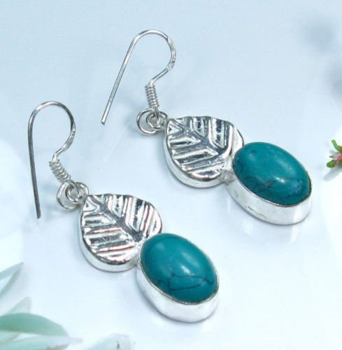 """Fine natural Turquoise sterling 925 earrings 1 3/4 """" ! Gift Jewelry & Love"""