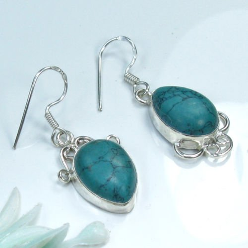 "Fine natural Turquoise sterling 925 earrings 1 3/4 "" ! Gift Jewelry & Love"