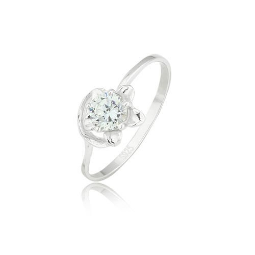 Fine Fashion sterling silver 925 ring white zircon size 6 ! Gift Jewelry & Love