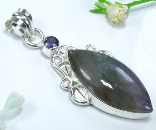 Ocean jasper & amethyst silver 925 pendant + necklace ! Gift Jewelry & Love