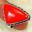 Fashion retro design silver set red coral ring size 7.5 ! Gift Jewelry & Love
