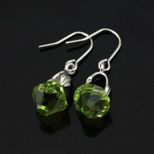 Fashion 18k GP green swarovski crystal lady earrings ! Gift Jewelry & Love