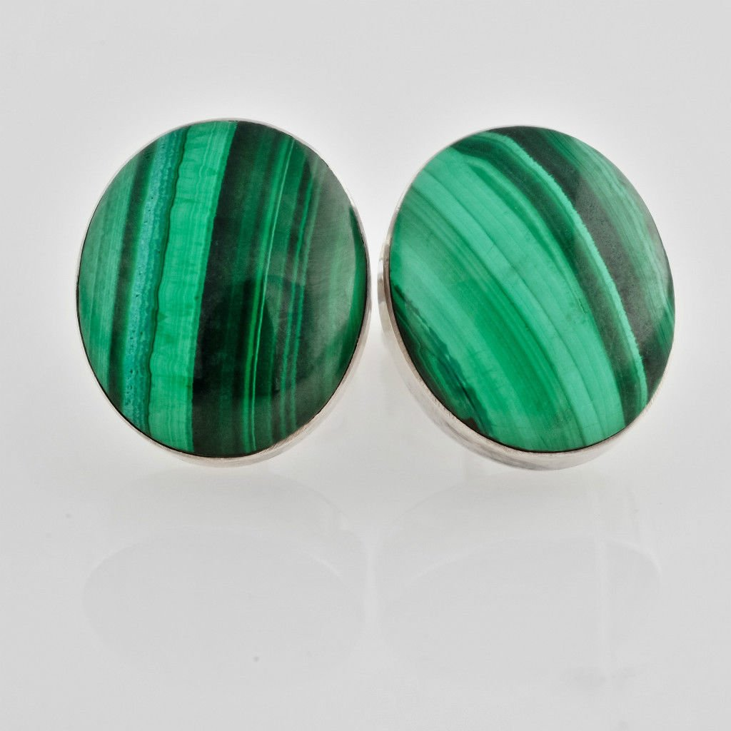 Fashion jewelry silver earrings set Malachite gemstone ! Gift Jewelry & Love