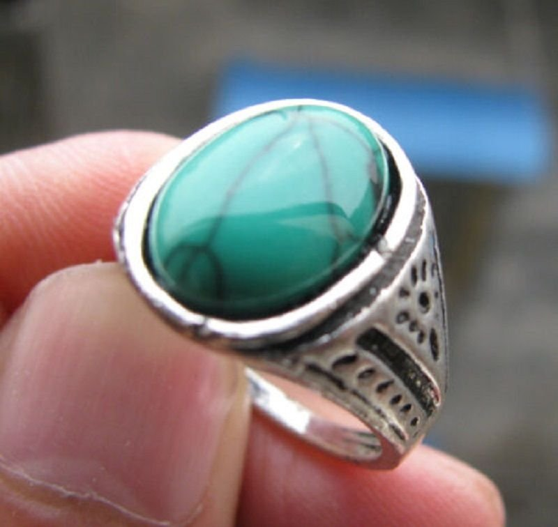 Fashion Thailand silver ring green Turquoise stone size 8.5 Gift Jewelry & Love