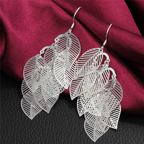 Fashion silver plated 925 elegant leaves dangle earrings ! Gift Jewelry & Love