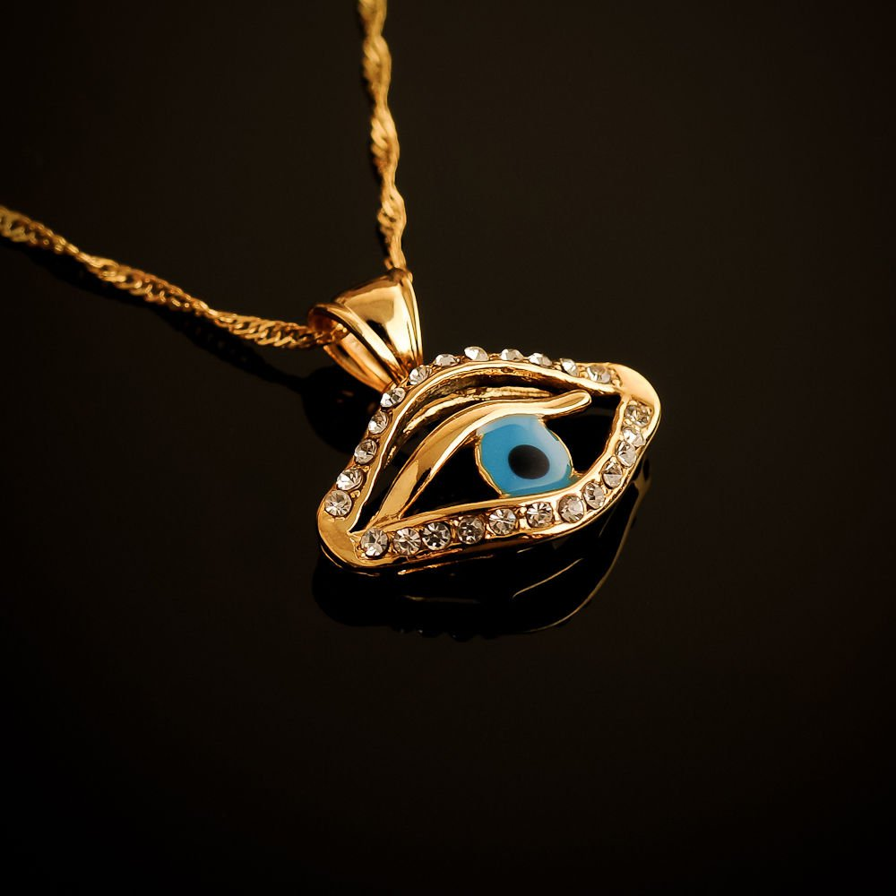 18k gold plated blue eye set zircons pendant & necklace ! Fashion Jewelry & Love